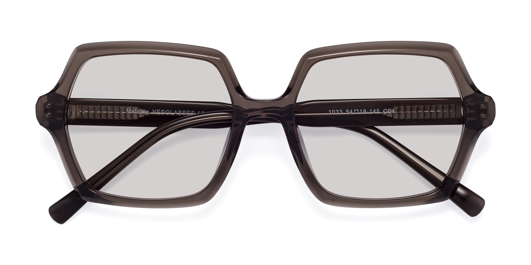 Folded Front of Melanie in Transparent Gray with Light Gray Tinted Lenses