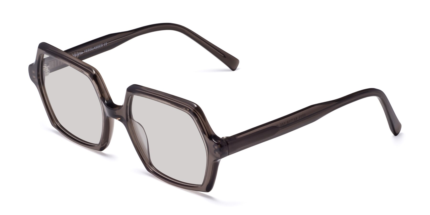 Angle of Melanie in Transparent Gray with Light Gray Tinted Lenses