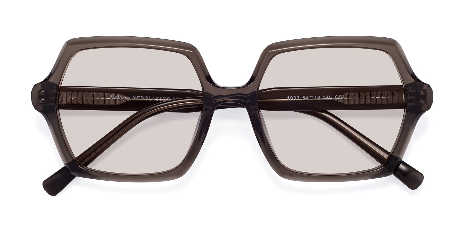 Folded Front of Melanie in Transparent Gray with Light Brown Tinted Lenses