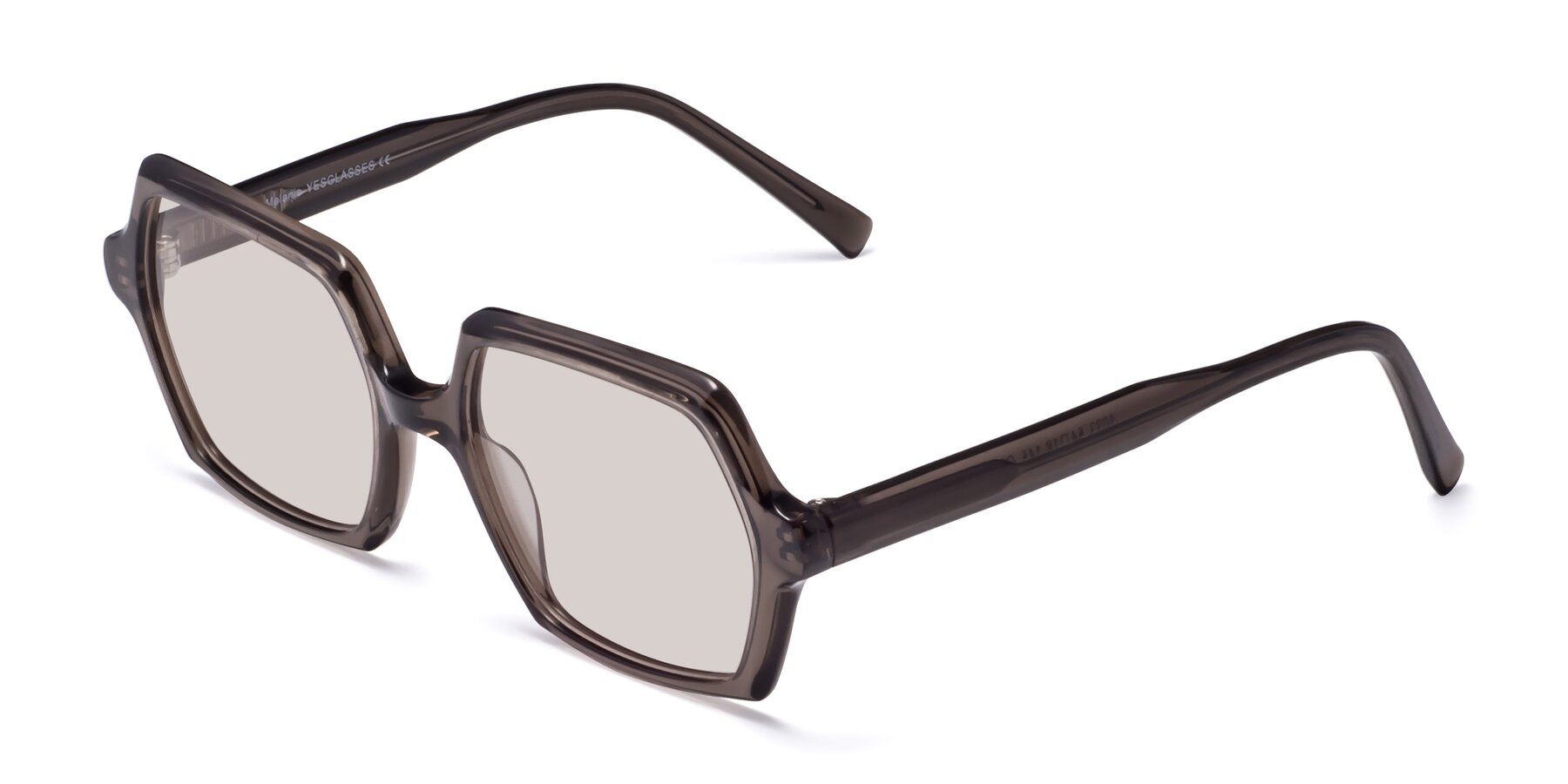 Angle of Melanie in Transparent Gray with Light Brown Tinted Lenses