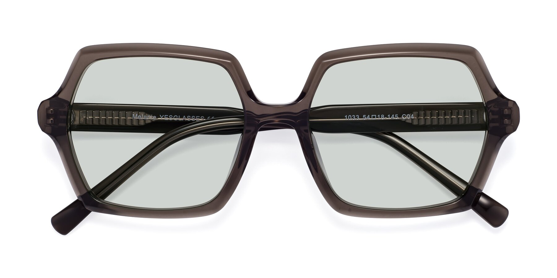 Folded Front of Melanie in Transparent Gray with Light Green Tinted Lenses