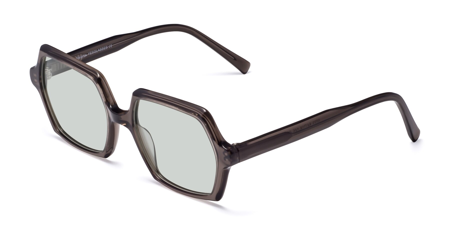 Angle of Melanie in Transparent Gray with Light Green Tinted Lenses