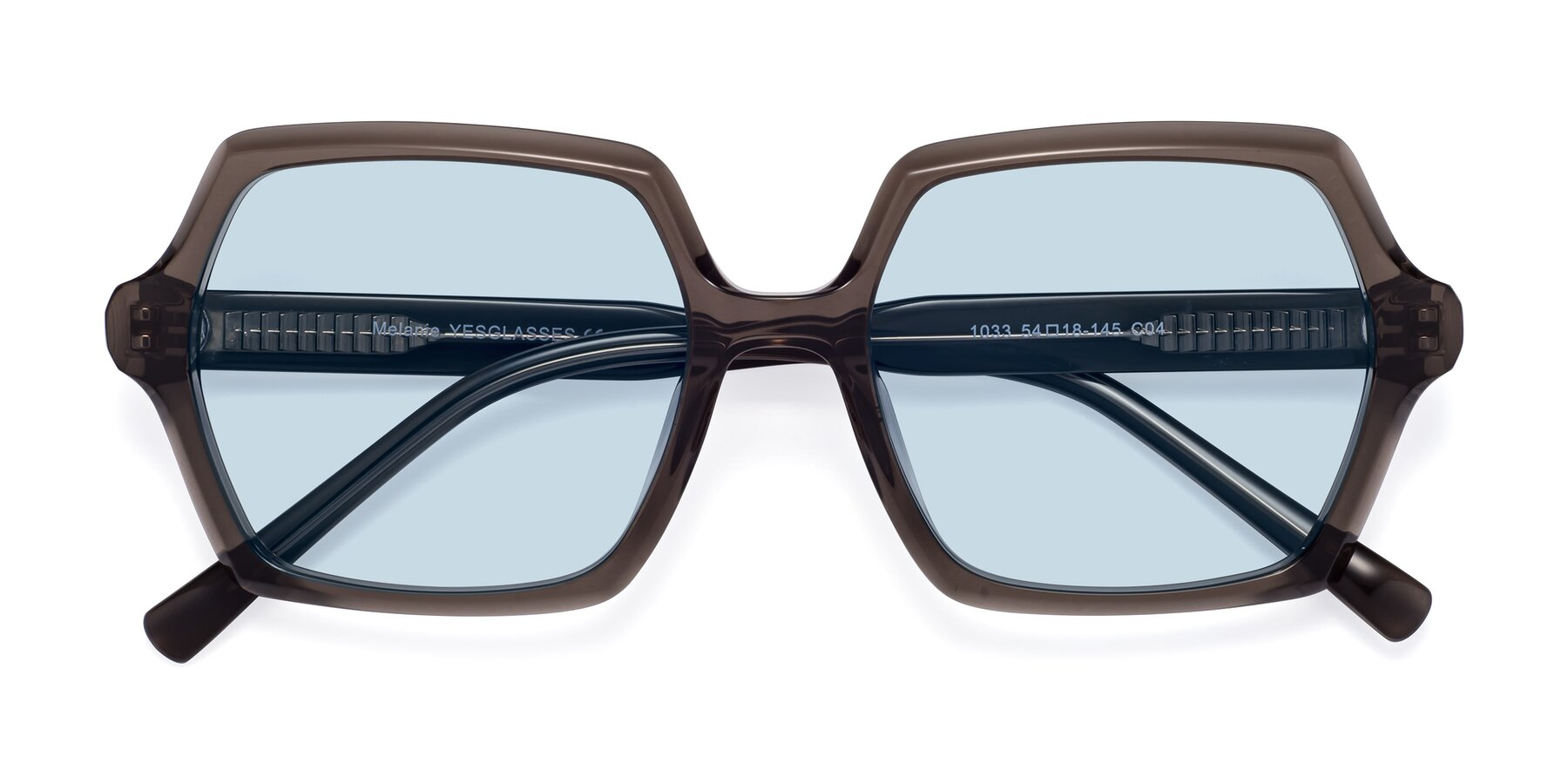 Folded Front of Melanie in Transparent Gray with Light Blue Tinted Lenses