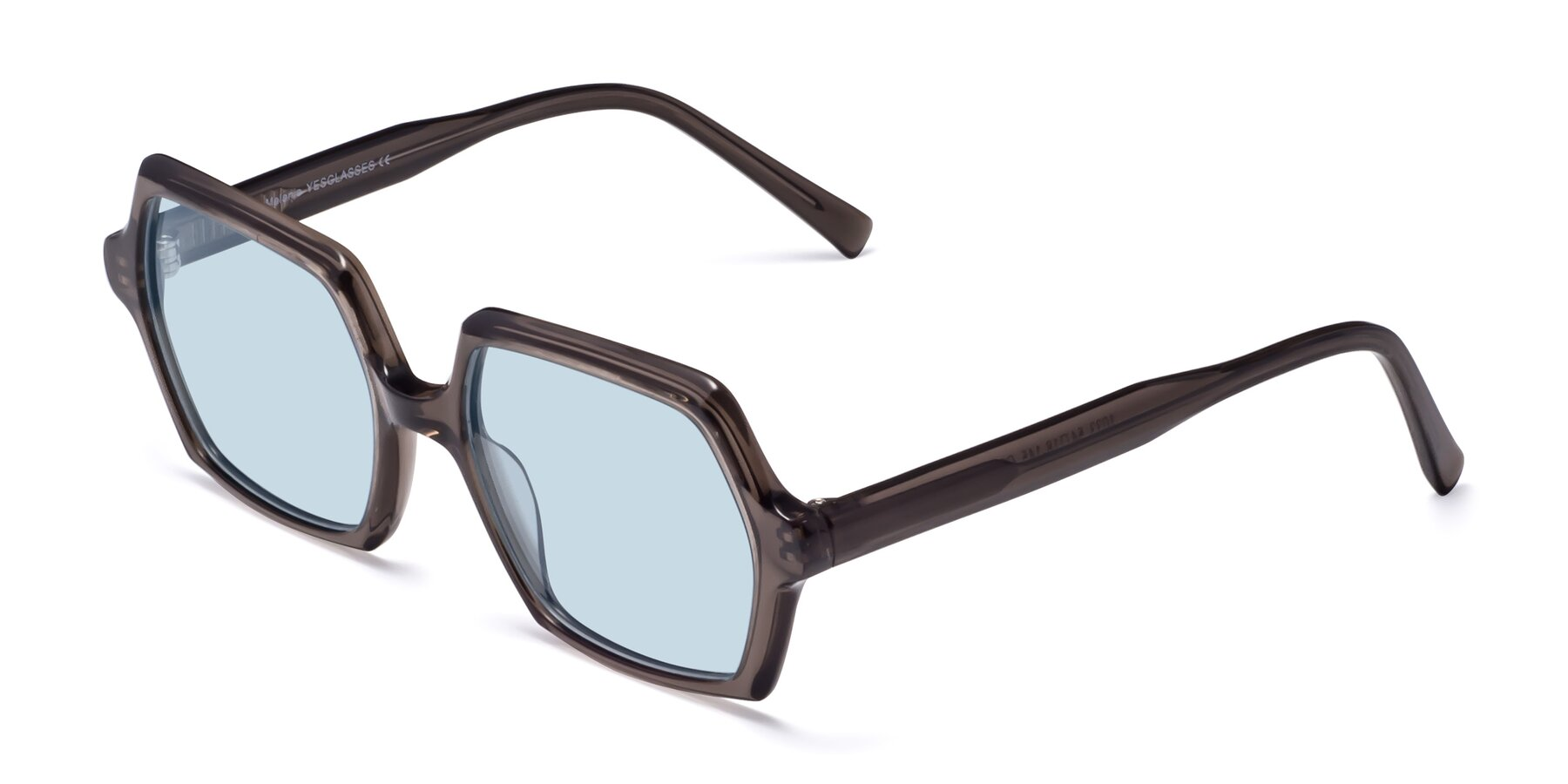 Angle of Melanie in Transparent Gray with Light Blue Tinted Lenses