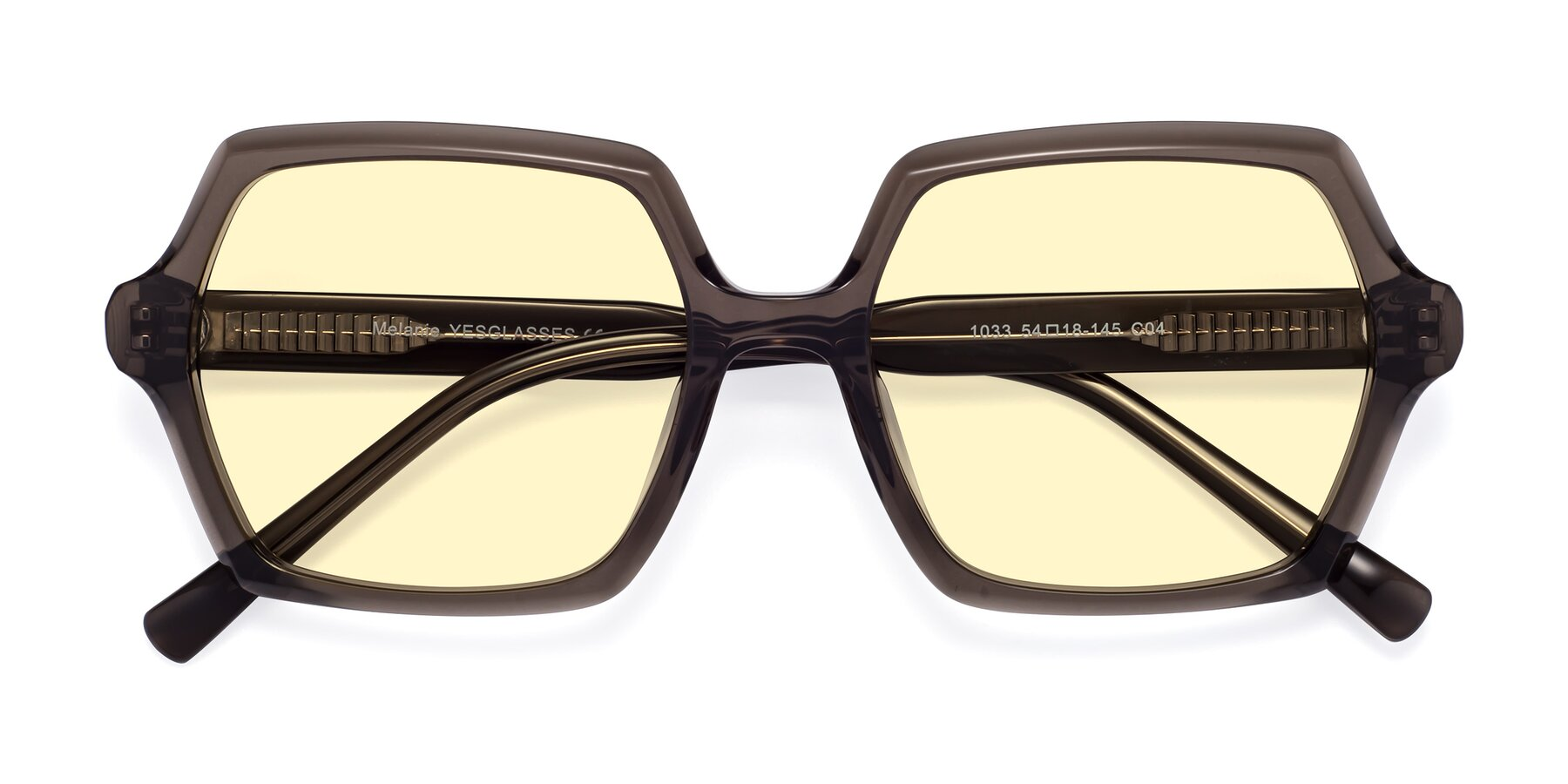 Folded Front of Melanie in Transparent Gray with Light Yellow Tinted Lenses