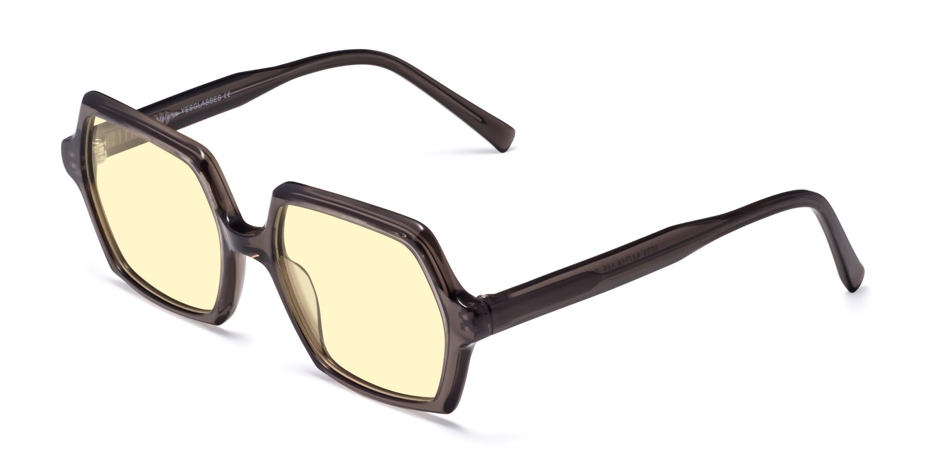 Angle of Melanie in Transparent Gray with Light Yellow Tinted Lenses