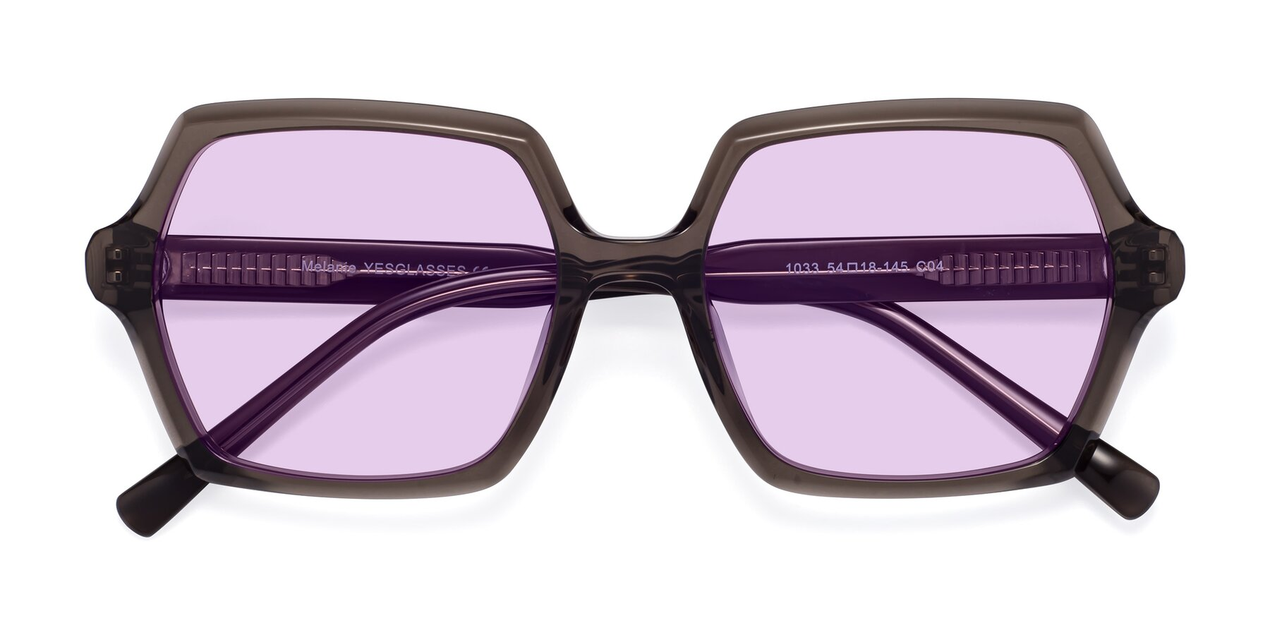 Folded Front of Melanie in Transparent Gray with Light Purple Tinted Lenses