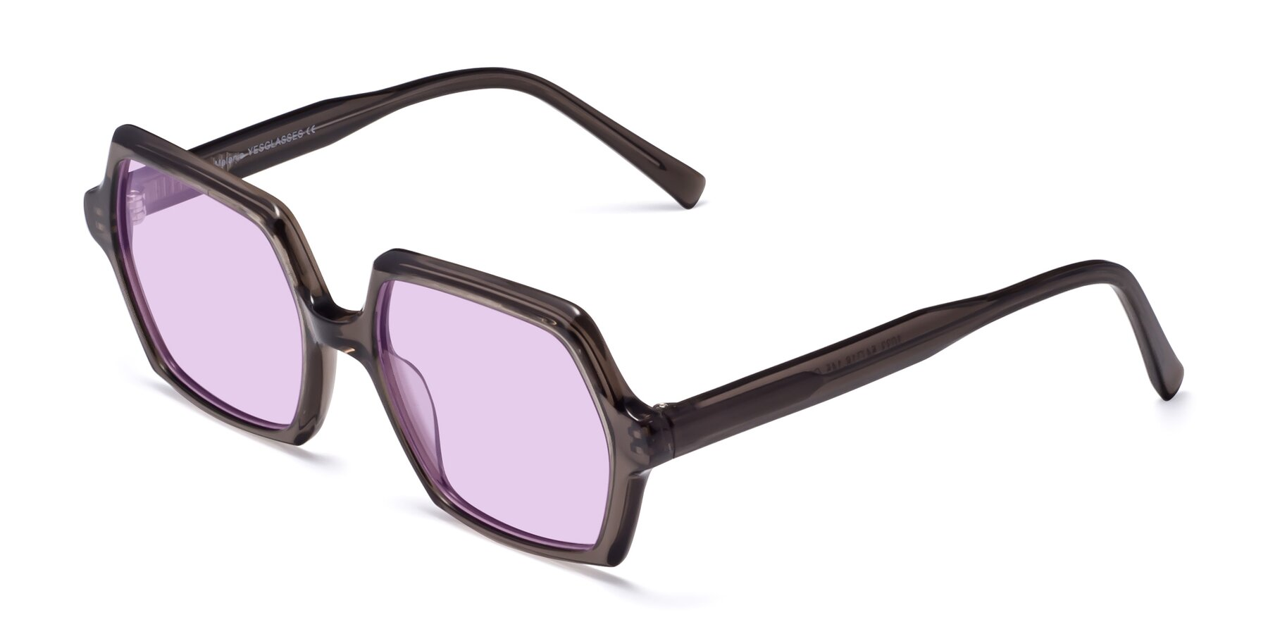 Angle of Melanie in Transparent Gray with Light Purple Tinted Lenses