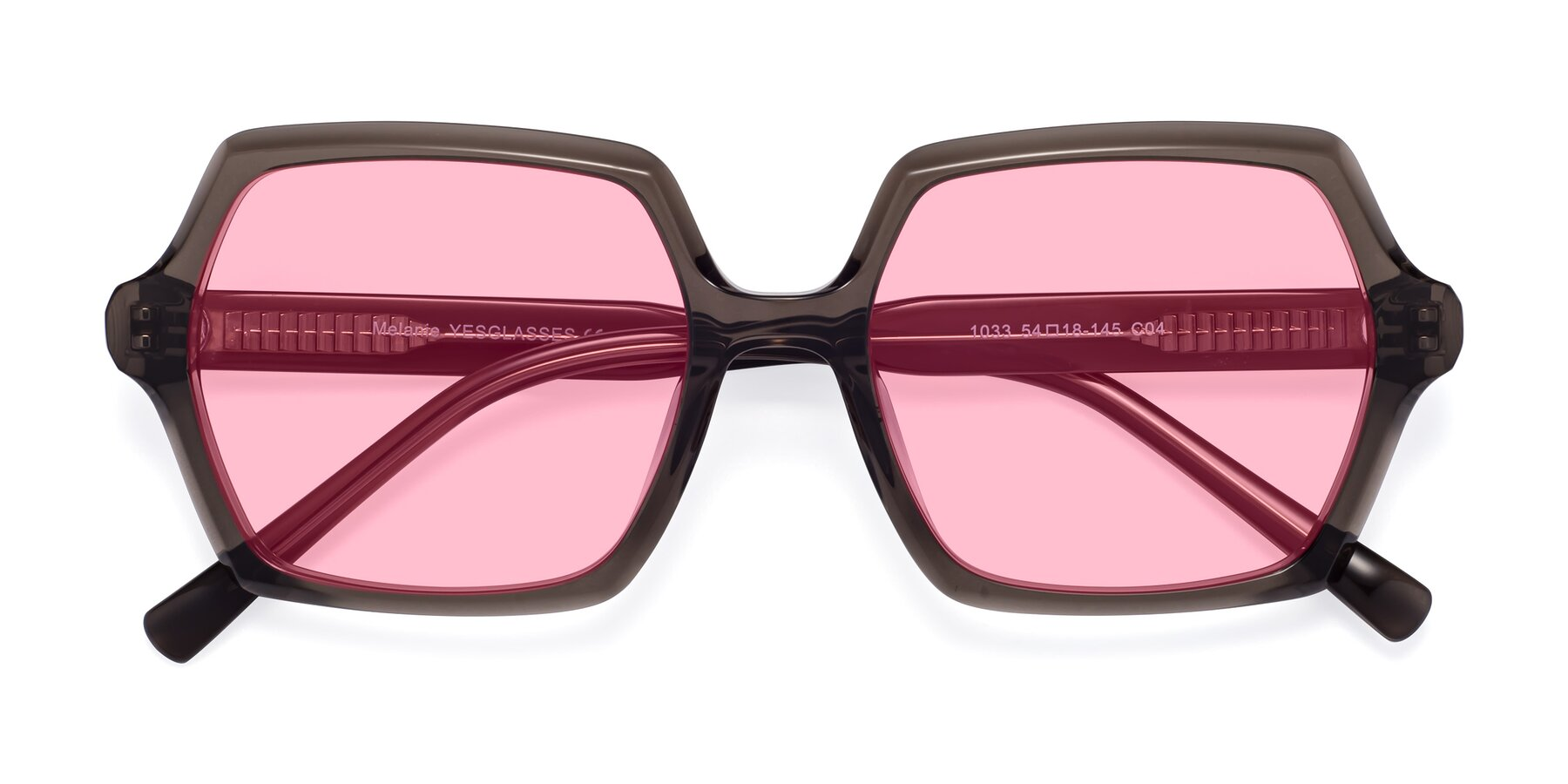 Folded Front of Melanie in Transparent Gray with Medium Pink Tinted Lenses