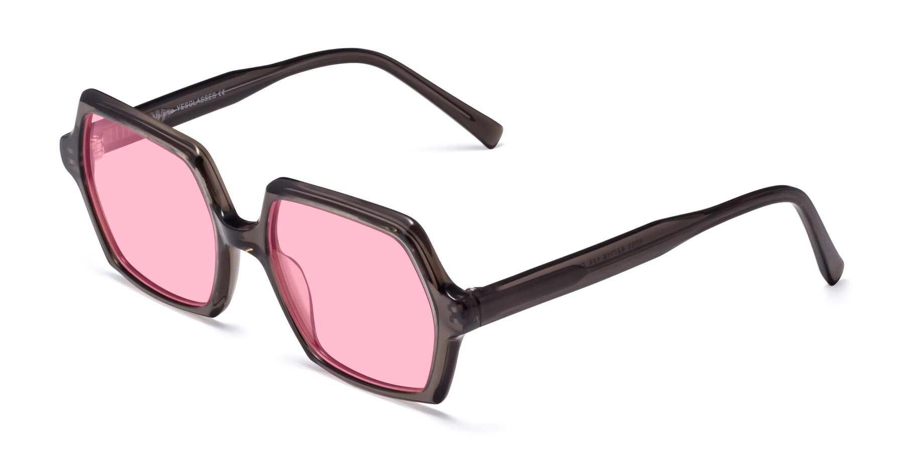 Angle of Melanie in Transparent Gray with Medium Pink Tinted Lenses
