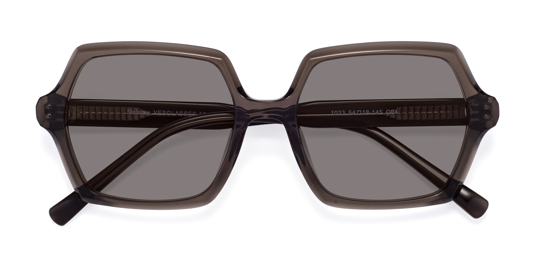 Folded Front of Melanie in Transparent Gray with Medium Gray Tinted Lenses