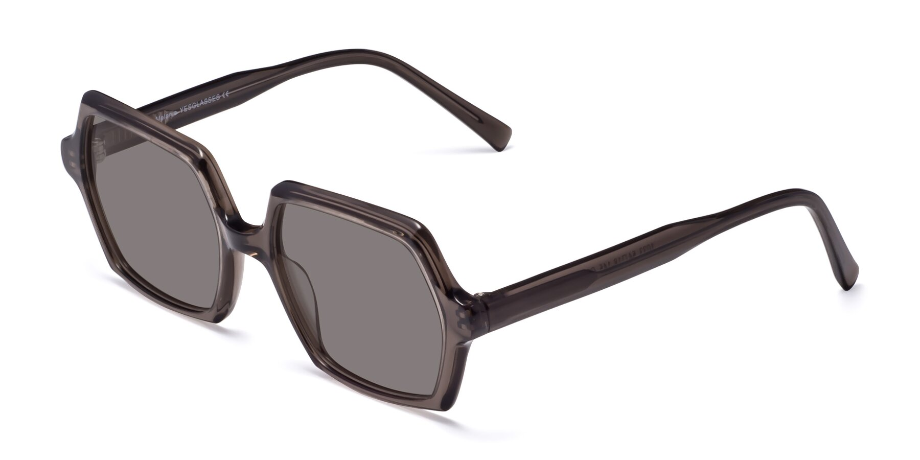 Angle of Melanie in Transparent Gray with Medium Gray Tinted Lenses