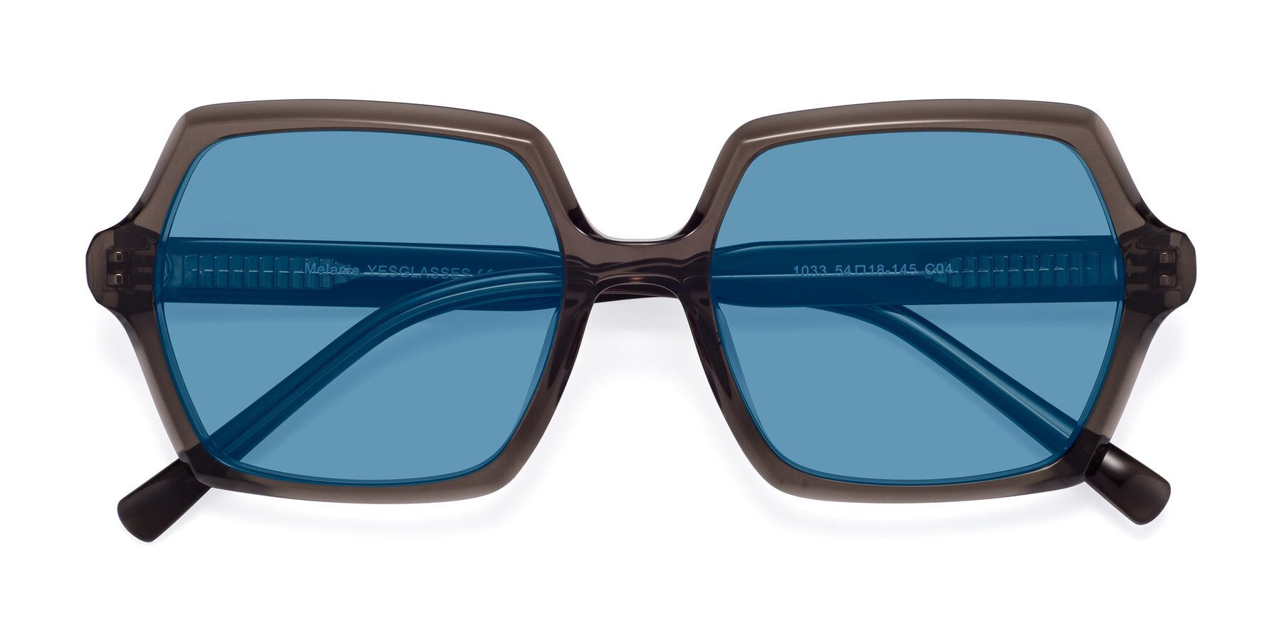 Folded Front of Melanie in Transparent Gray with Medium Blue Tinted Lenses