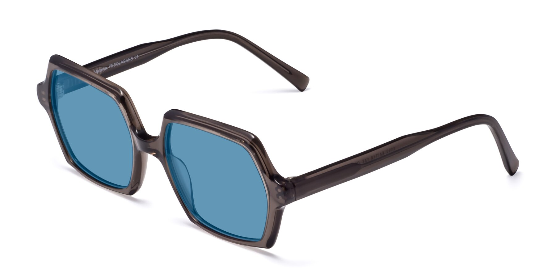 Angle of Melanie in Transparent Gray with Medium Blue Tinted Lenses