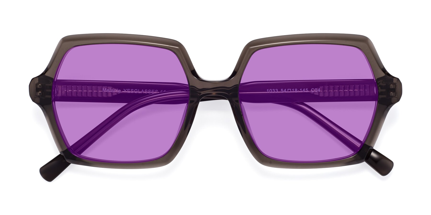 Folded Front of Melanie in Transparent Gray with Medium Purple Tinted Lenses