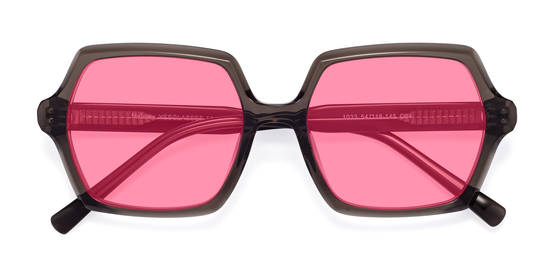 Folded Front of Melanie in Transparent Gray with Pink Tinted Lenses