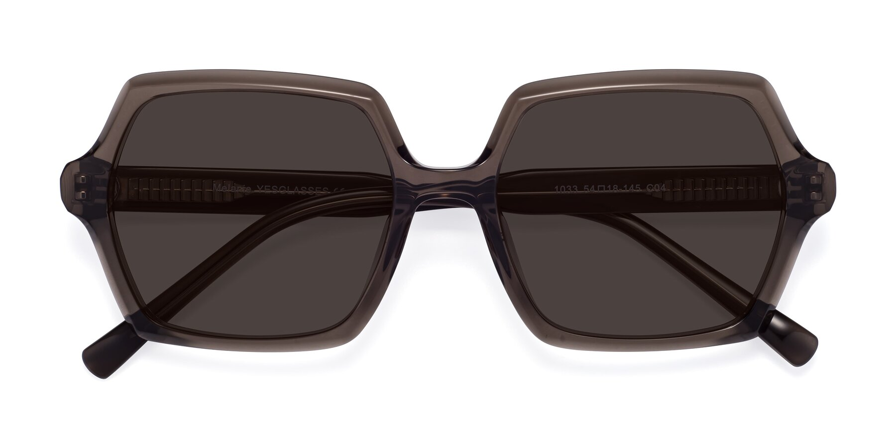 Folded Front of Melanie in Transparent Gray with Gray Tinted Lenses