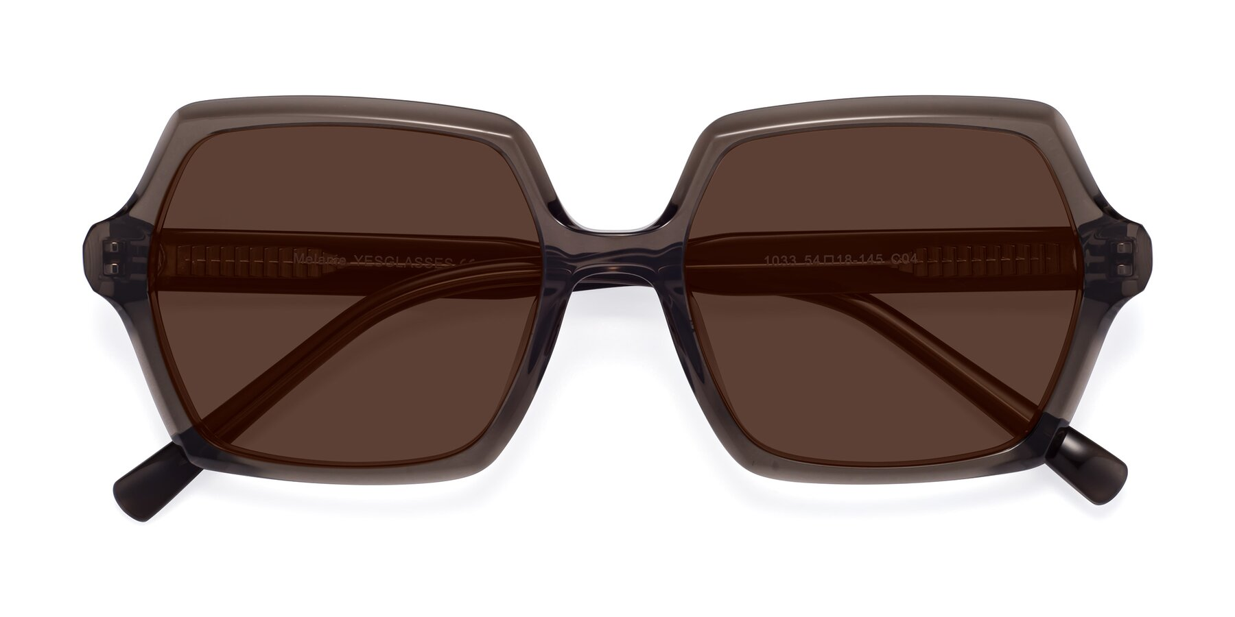 Folded Front of Melanie in Transparent Gray with Brown Tinted Lenses