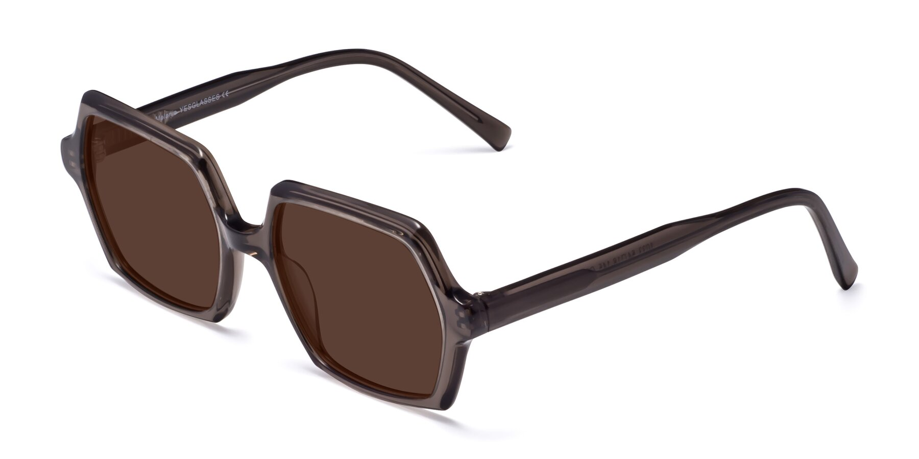 Angle of Melanie in Transparent Gray with Brown Tinted Lenses