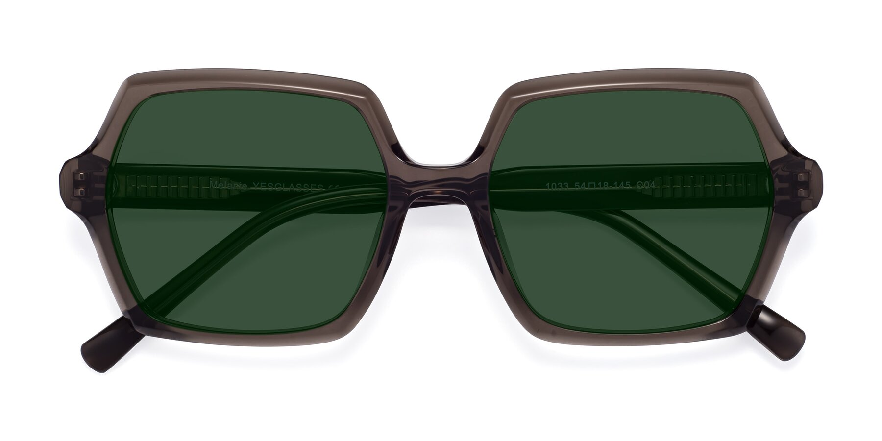Folded Front of Melanie in Transparent Gray with Green Tinted Lenses