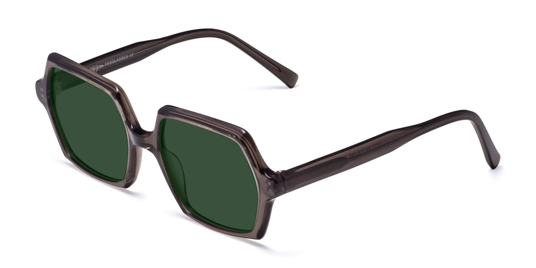 Angle of Melanie in Transparent Gray with Green Tinted Lenses