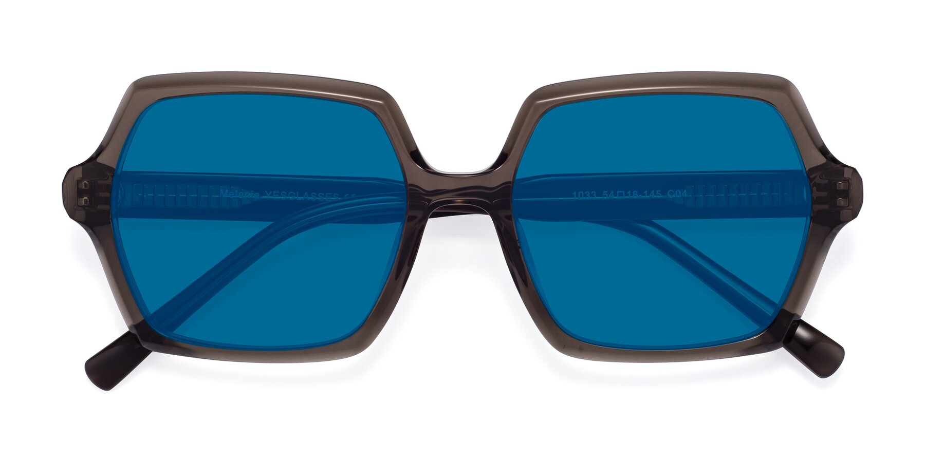 Folded Front of Melanie in Transparent Gray with Blue Tinted Lenses