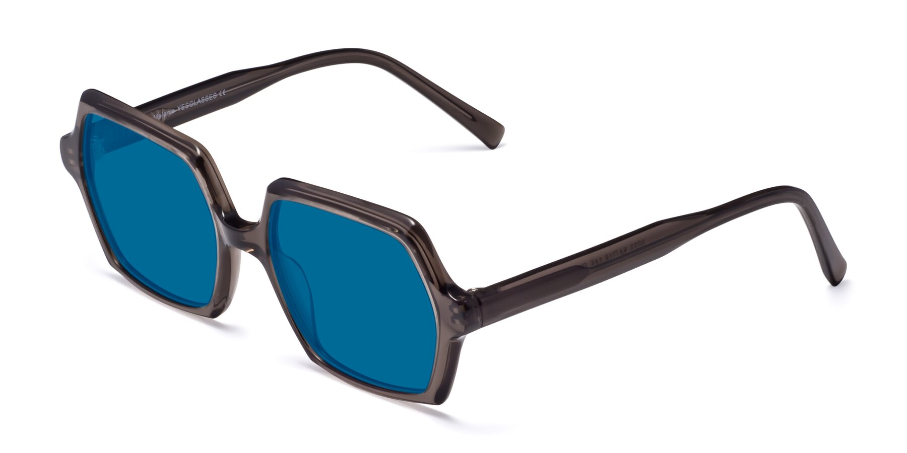 Angle of Melanie in Transparent Gray with Blue Tinted Lenses