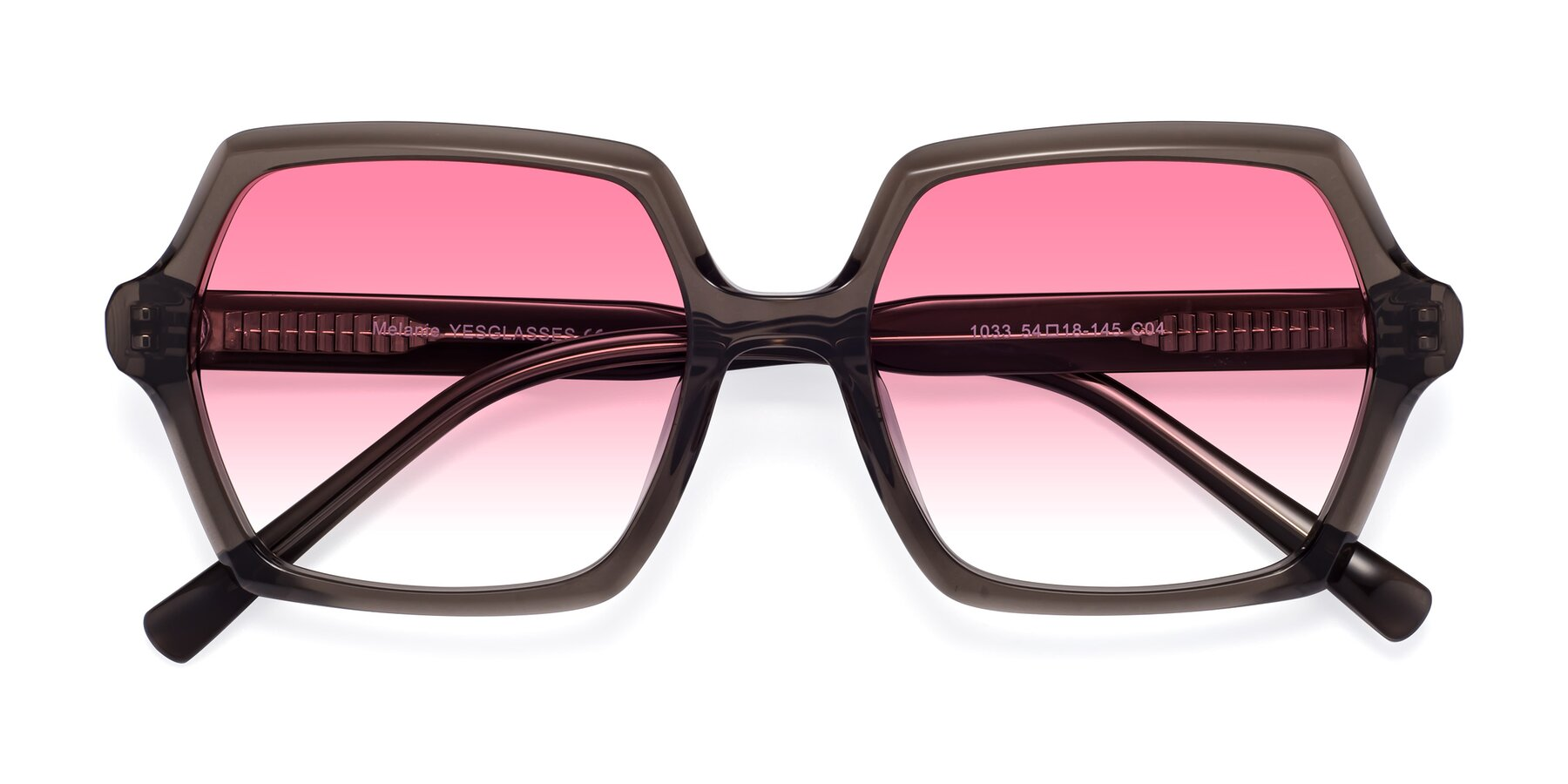 Folded Front of Melanie in Transparent Gray with Pink Gradient Lenses