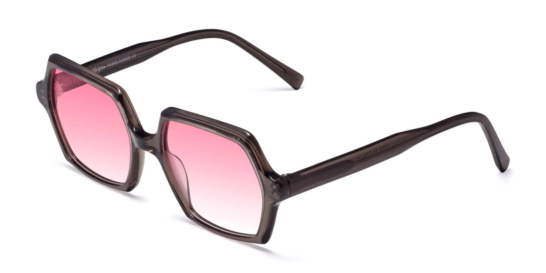 Angle of Melanie in Transparent Gray with Pink Gradient Lenses
