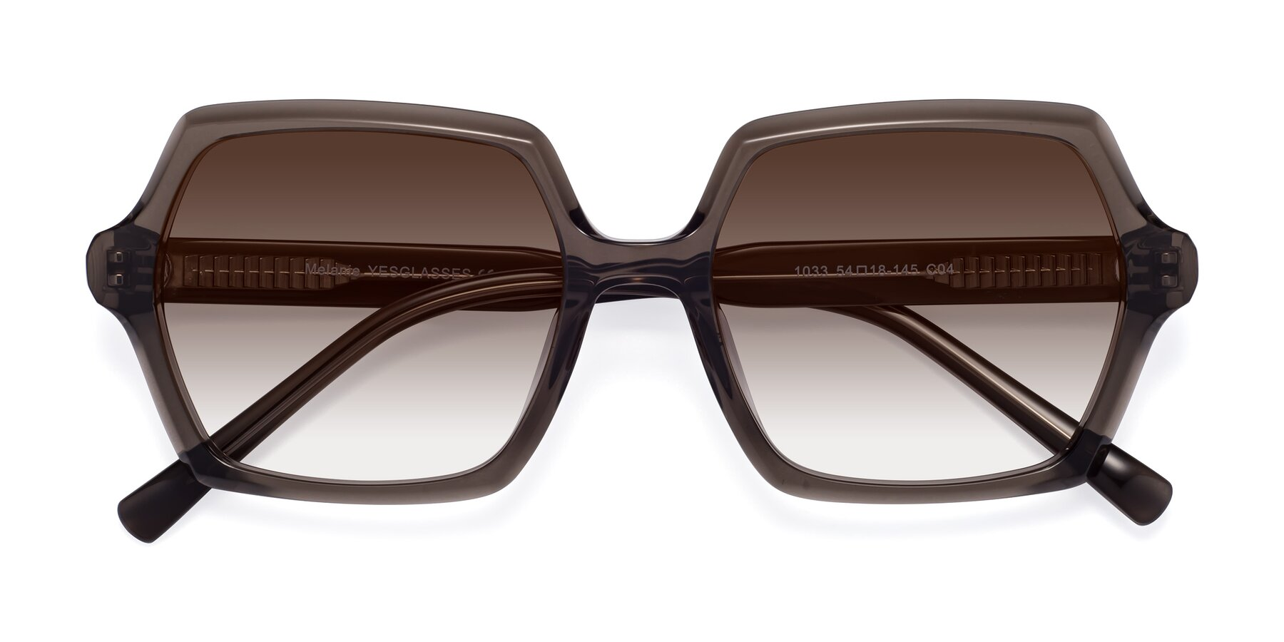 Folded Front of Melanie in Transparent Gray with Brown Gradient Lenses