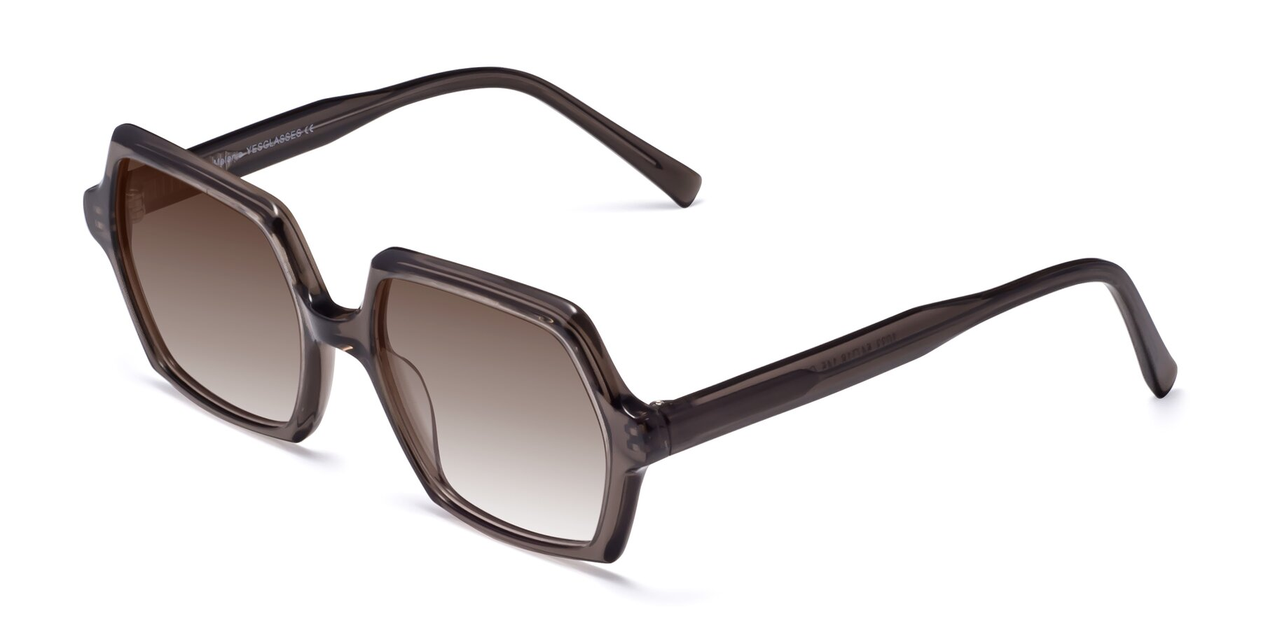 Angle of Melanie in Transparent Gray with Brown Gradient Lenses