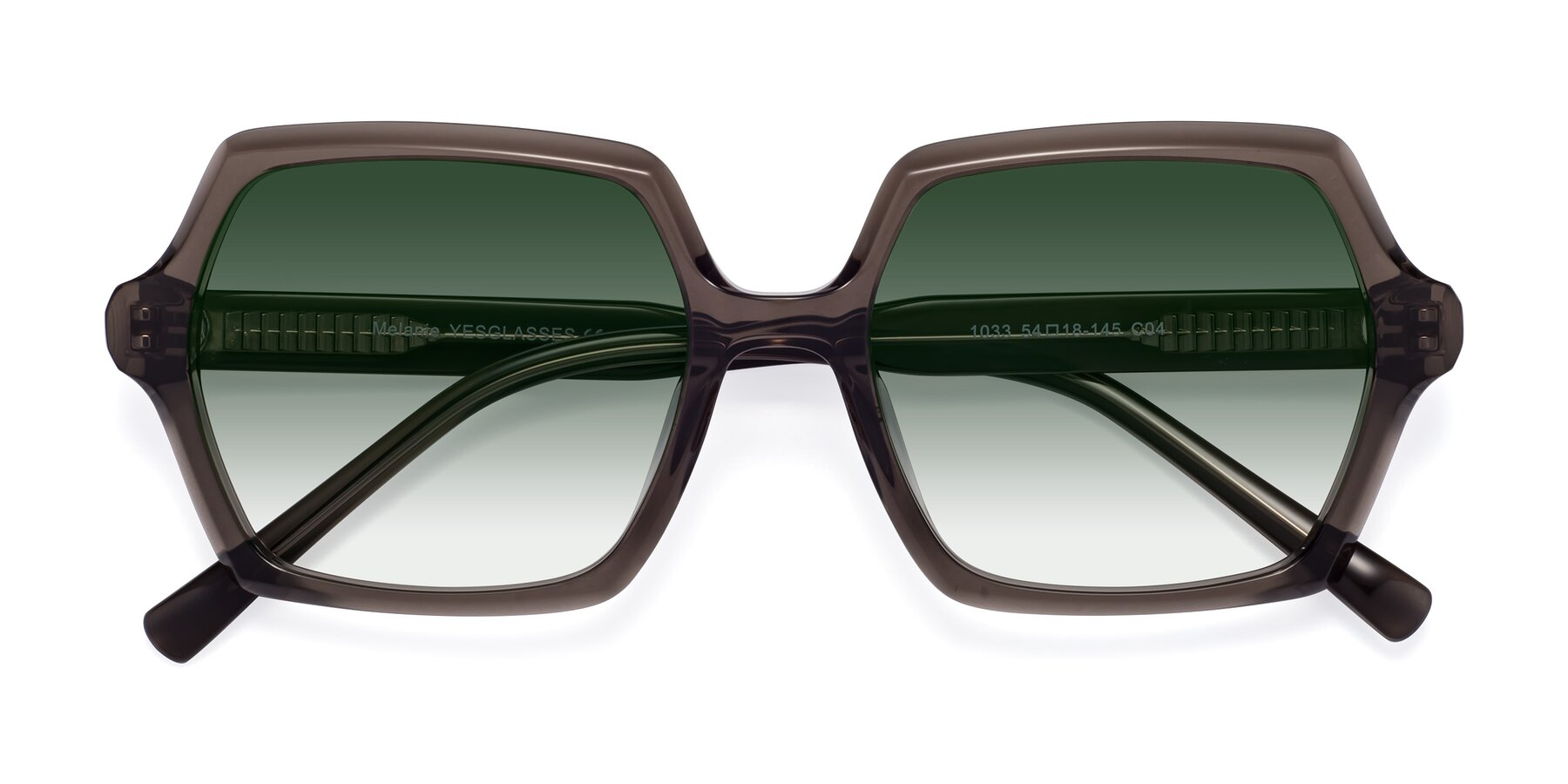 Folded Front of Melanie in Transparent Gray with Green Gradient Lenses