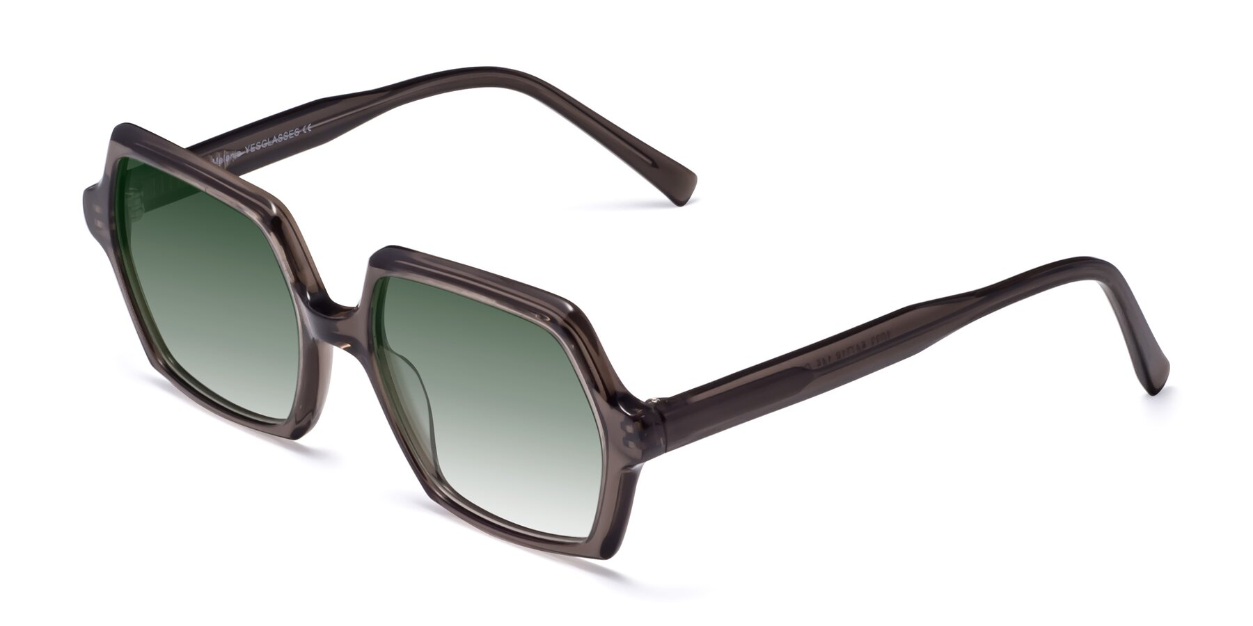 Angle of Melanie in Transparent Gray with Green Gradient Lenses