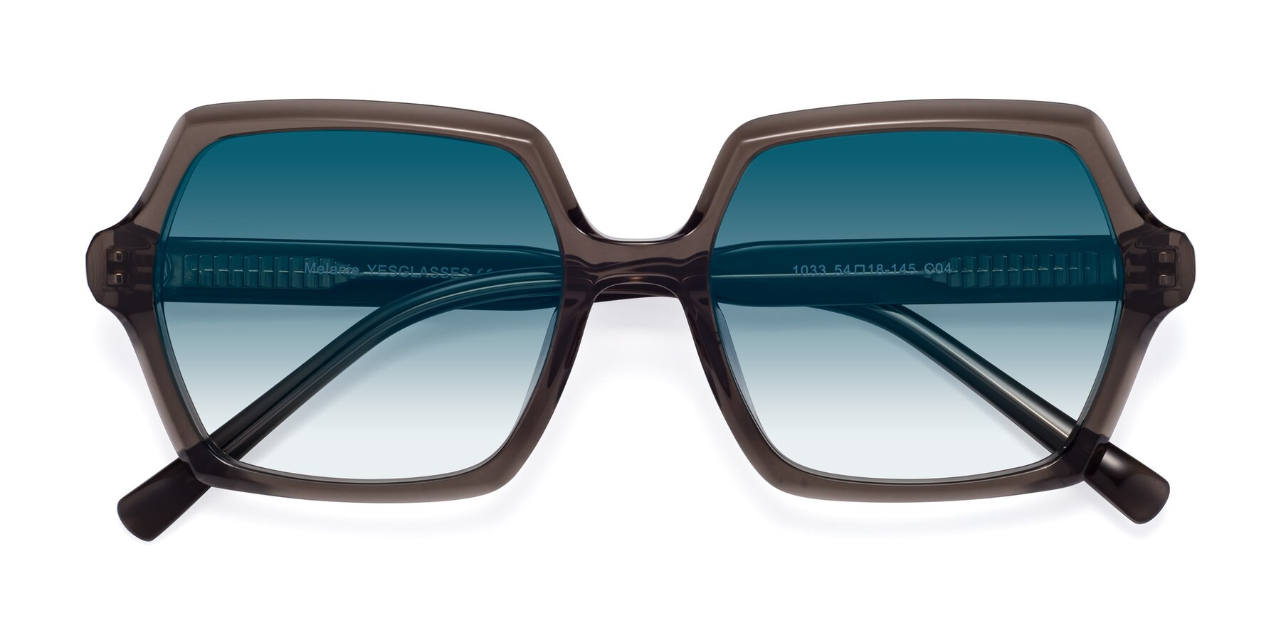 Folded Front of Melanie in Transparent Gray with Blue Gradient Lenses