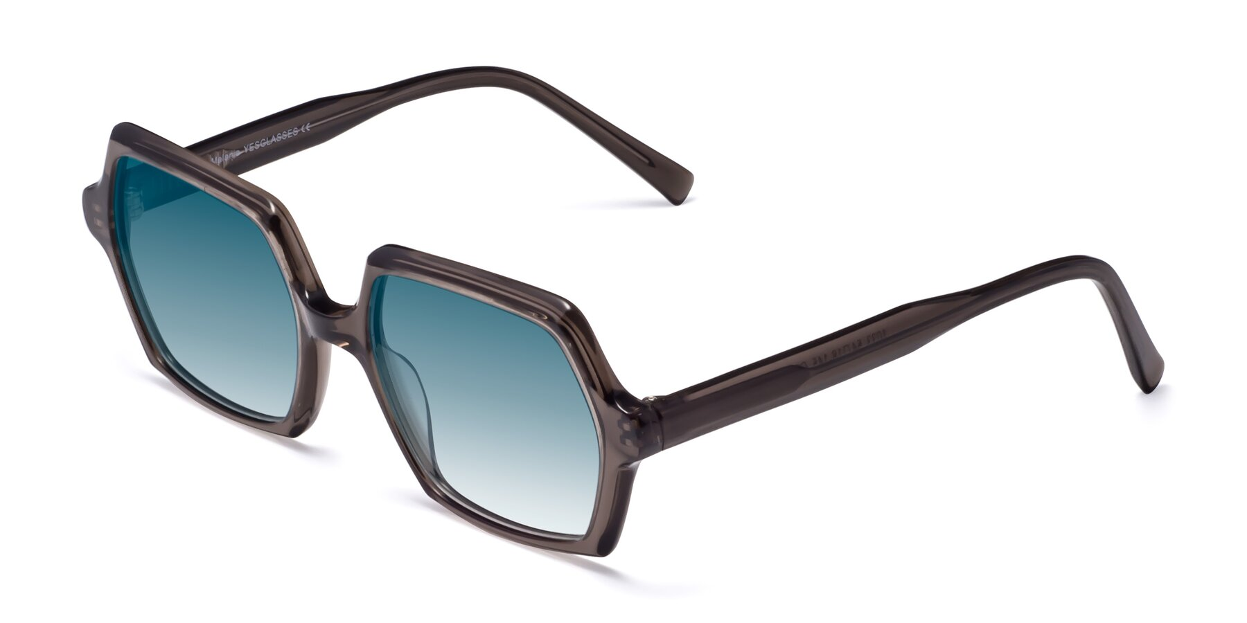 Angle of Melanie in Transparent Gray with Blue Gradient Lenses
