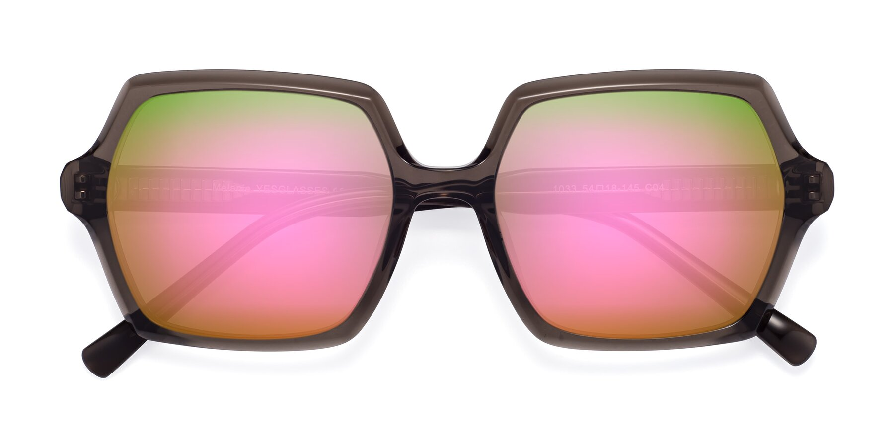 Folded Front of Melanie in Transparent Gray with Pink Mirrored Lenses