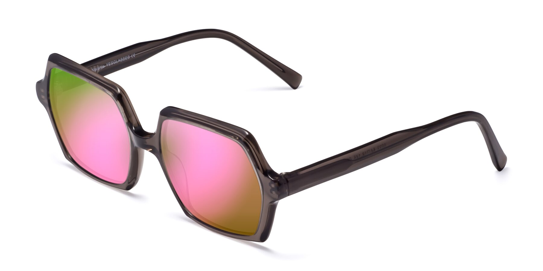 Angle of Melanie in Transparent Gray with Pink Mirrored Lenses