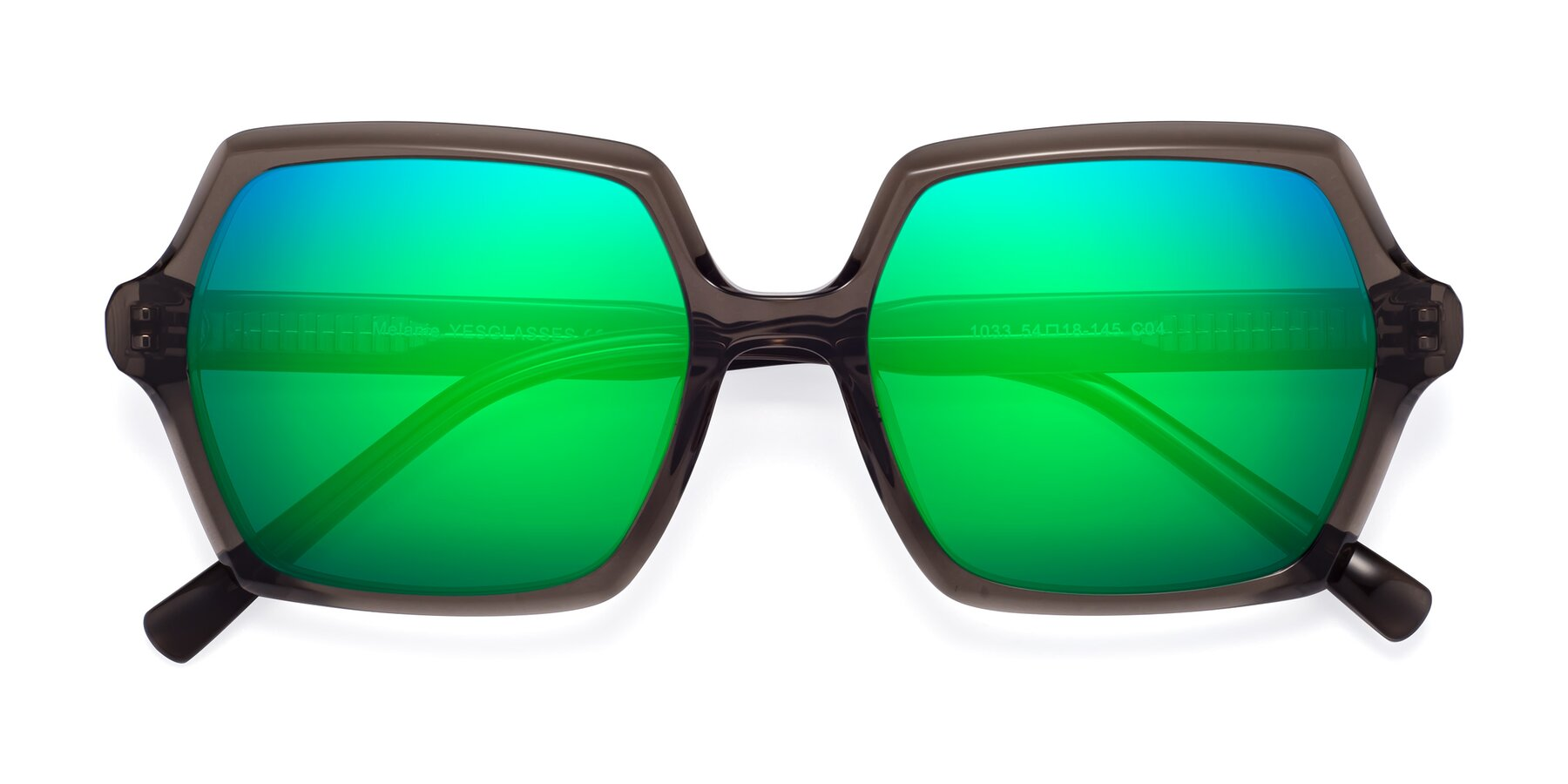 Folded Front of Melanie in Transparent Gray with Green Mirrored Lenses