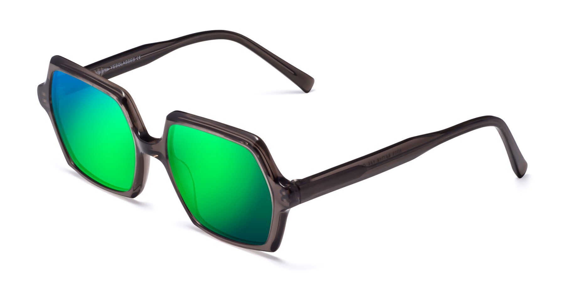 Angle of Melanie in Transparent Gray with Green Mirrored Lenses