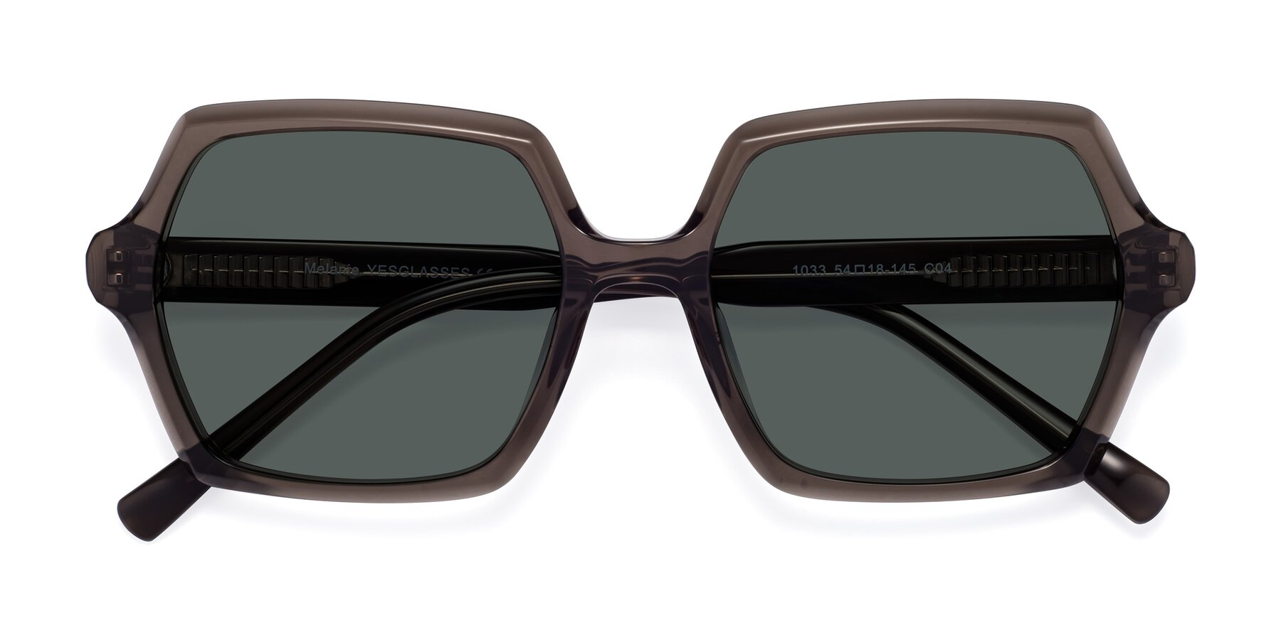 Folded Front of Melanie in Transparent Gray with Gray Polarized Lenses