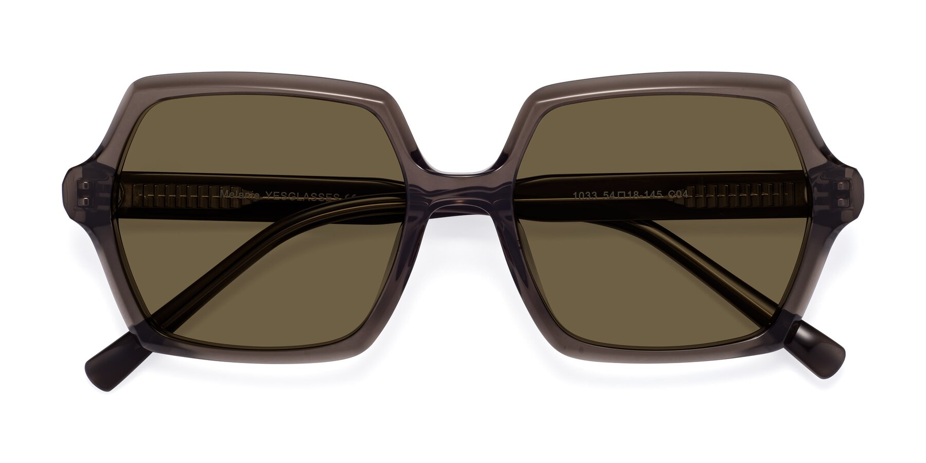 Folded Front of Melanie in Transparent Gray with Brown Polarized Lenses