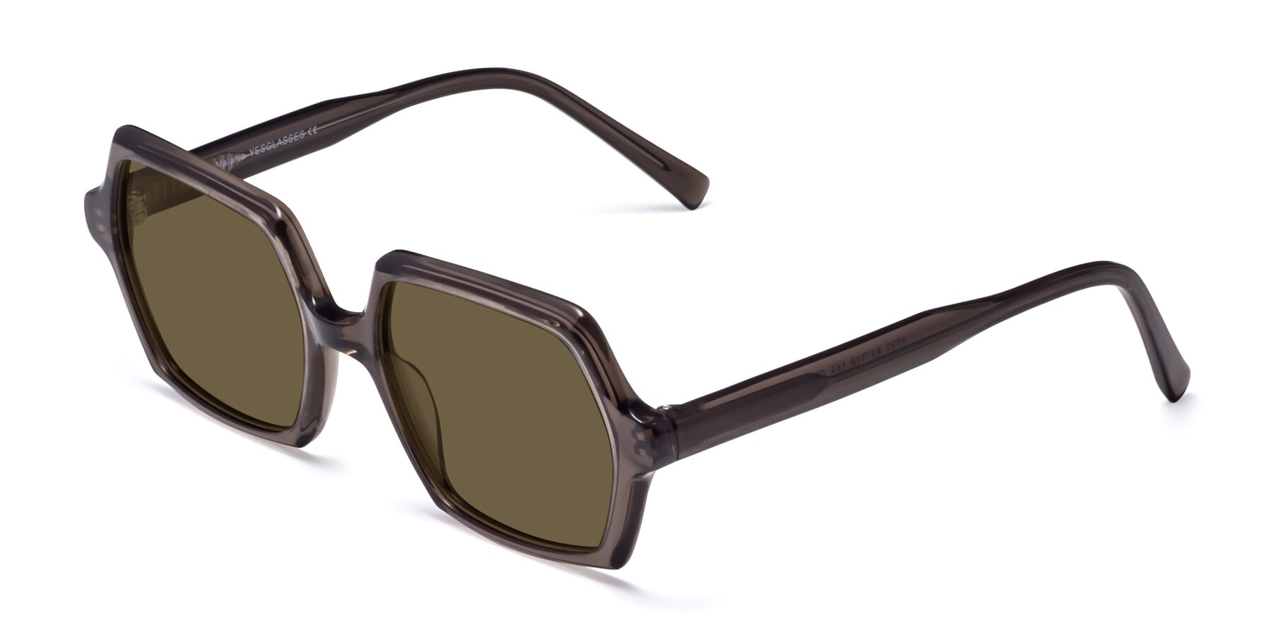 Angle of Melanie in Transparent Gray with Brown Polarized Lenses