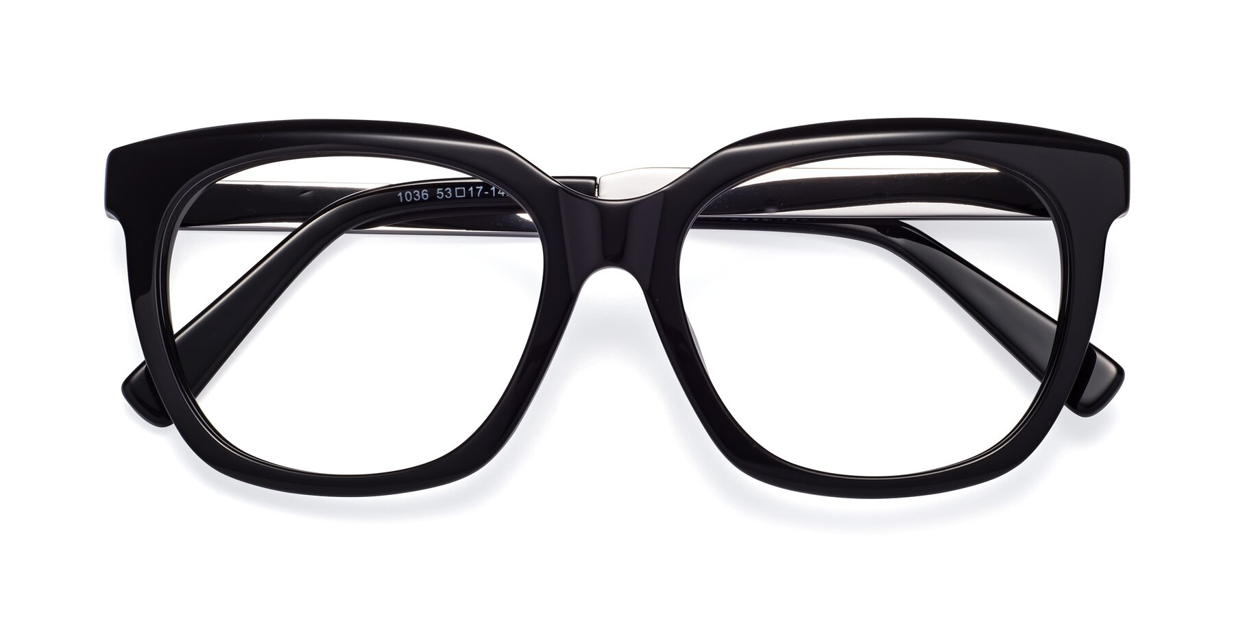 Folded Front of Talent in Black with Clear Blue Light Blocking Lenses