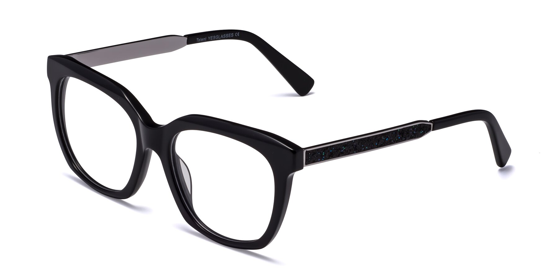 Angle of Talent in Black with Clear Blue Light Blocking Lenses