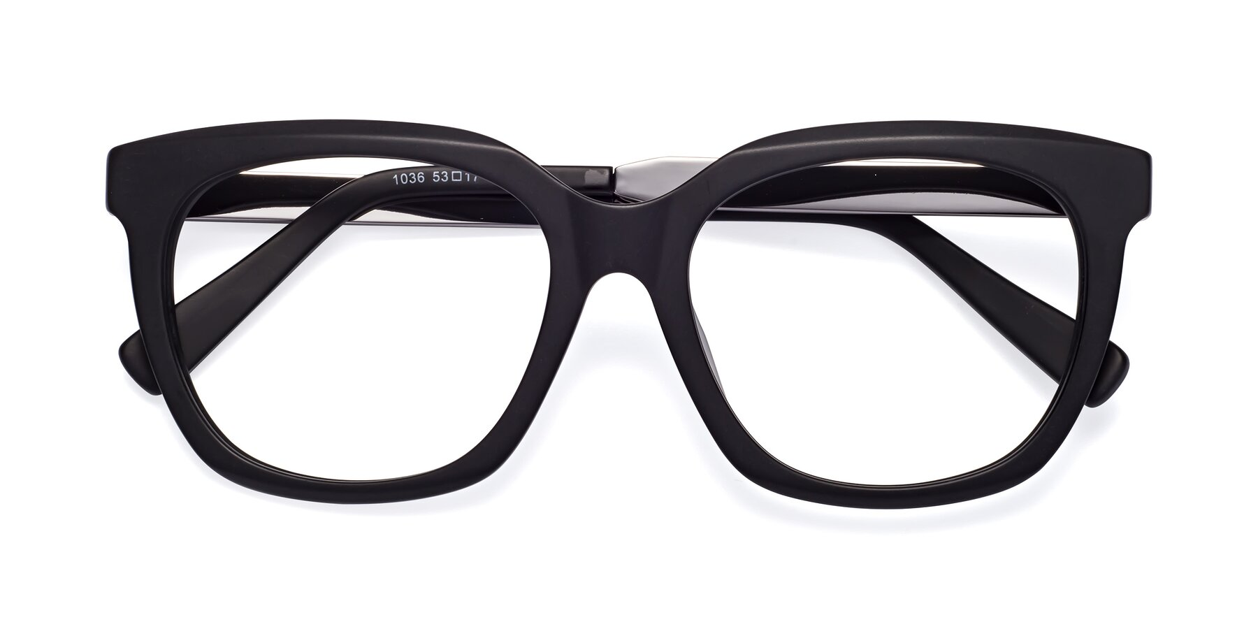 Folded Front of Talent in Matte Black with Clear Blue Light Blocking Lenses