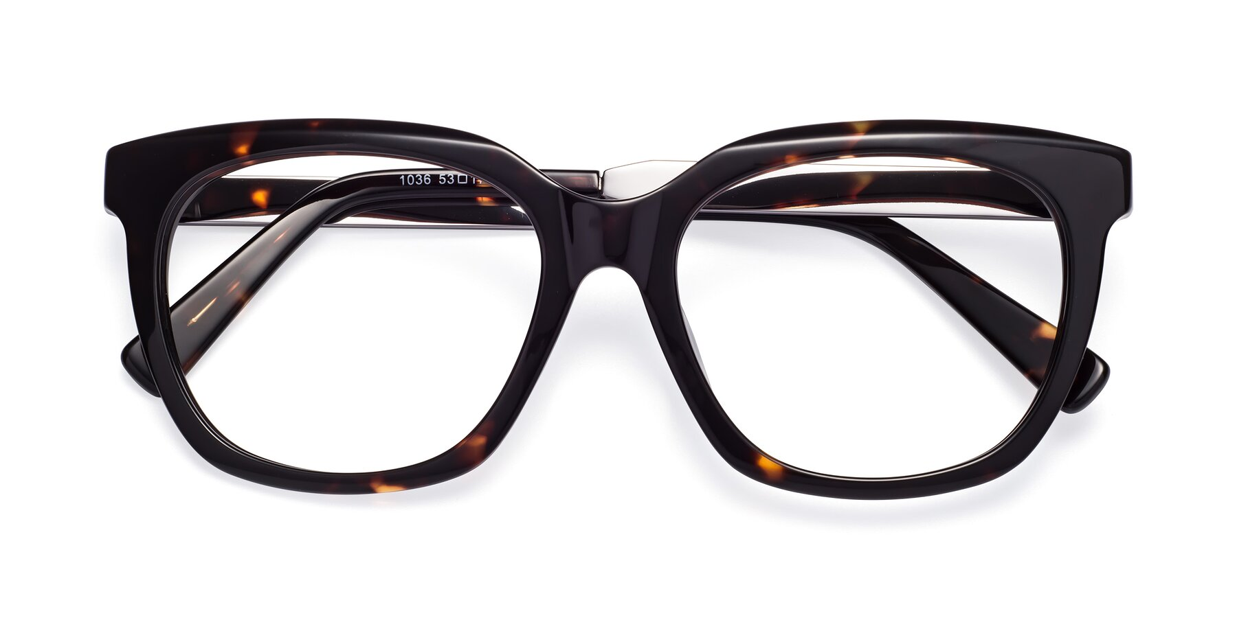 Folded Front of Talent in Tortoise with Clear Blue Light Blocking Lenses