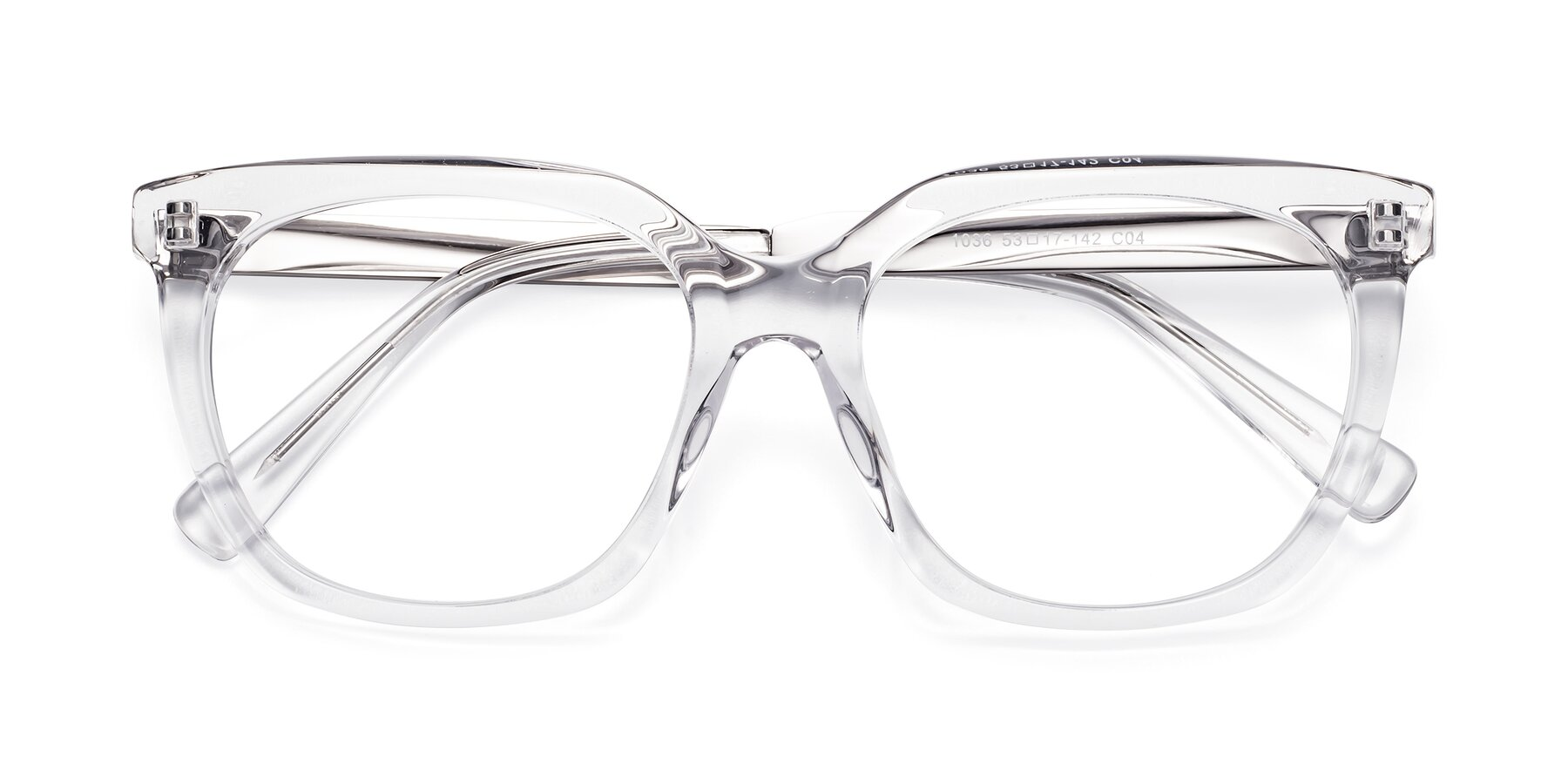 Folded Front of Talent in Clear with Clear Eyeglass Lenses