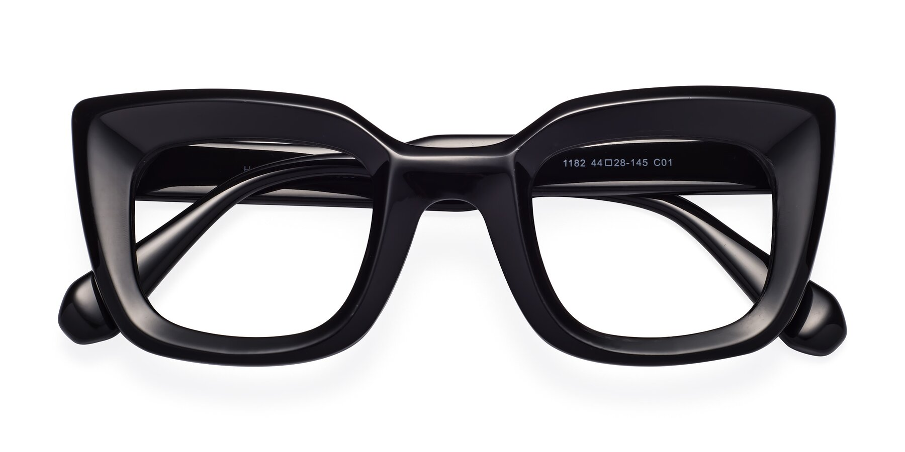 Folded Front of Homan in Black with Clear Eyeglass Lenses