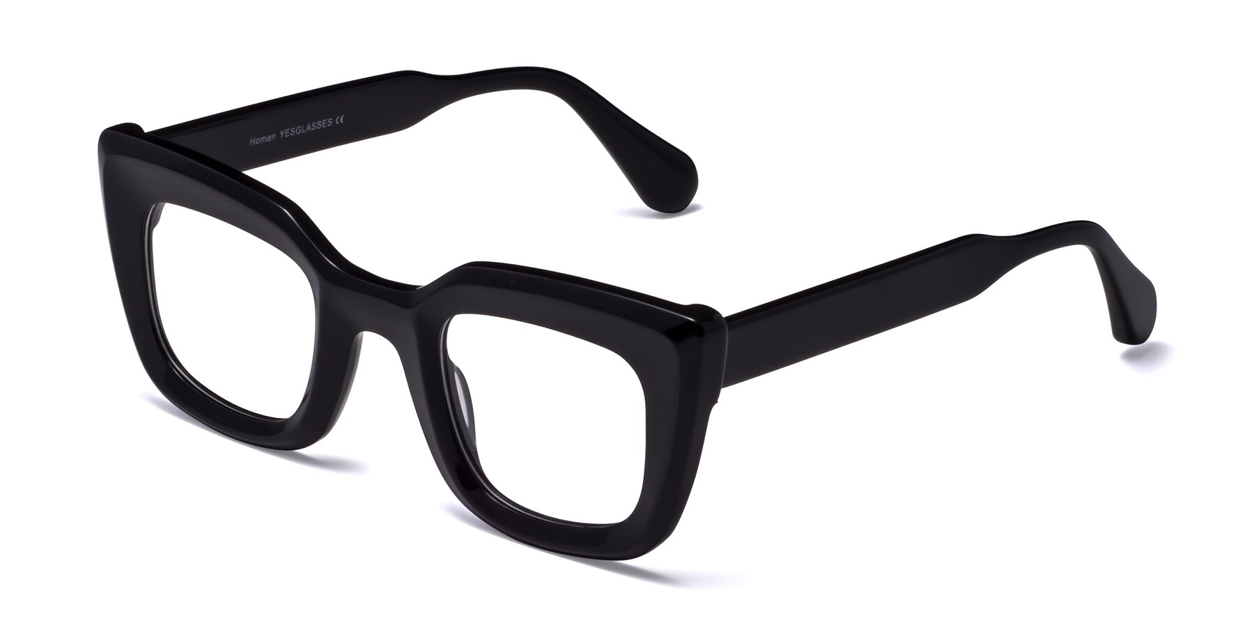 Angle of Homan in Black with Clear Eyeglass Lenses