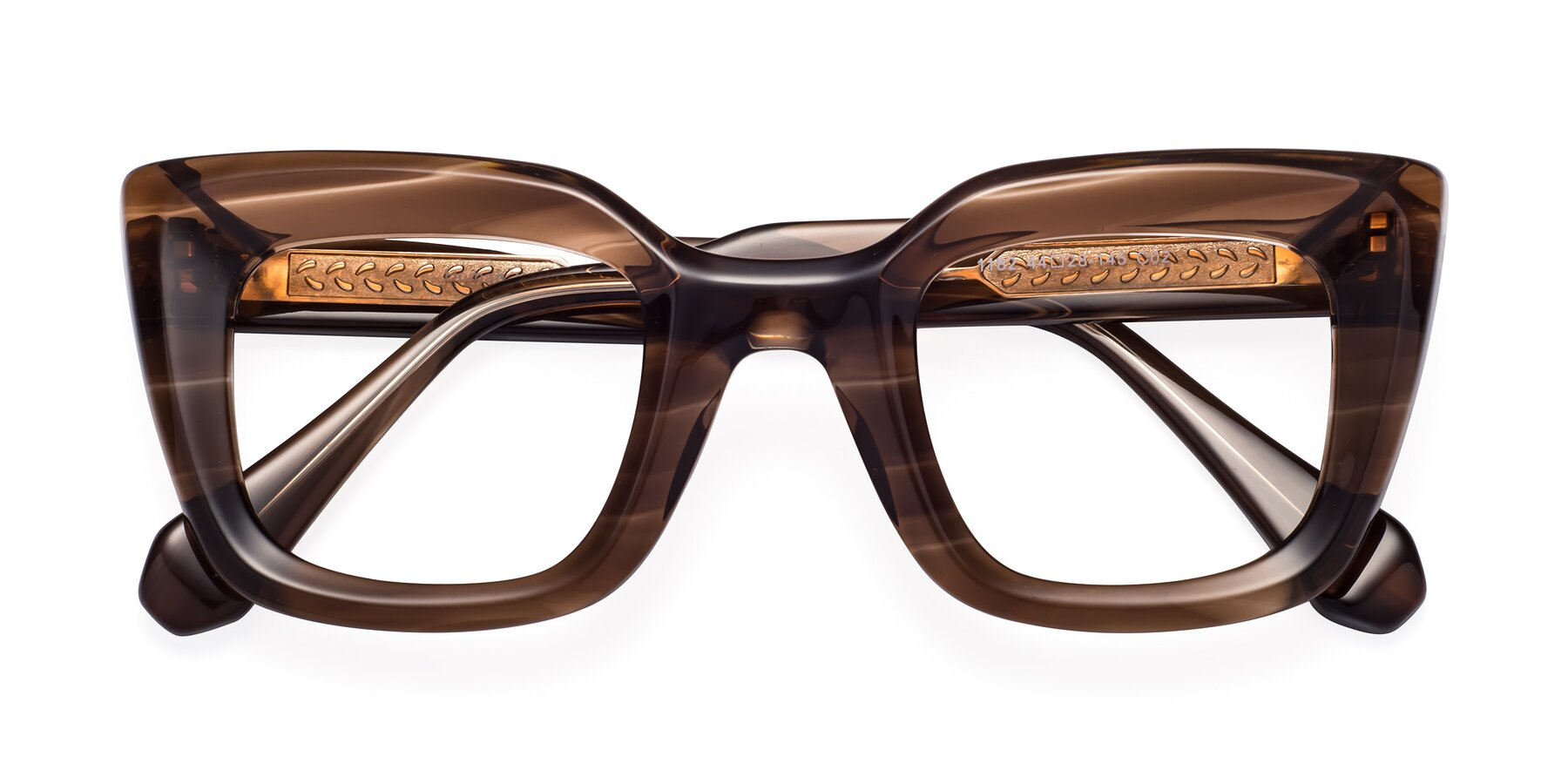 Folded Front of Homan in Chocolate with Clear Blue Light Blocking Lenses